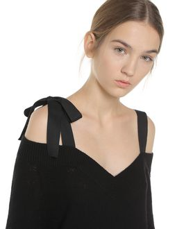 REDValentino Off the shoulder wool maxi sweater