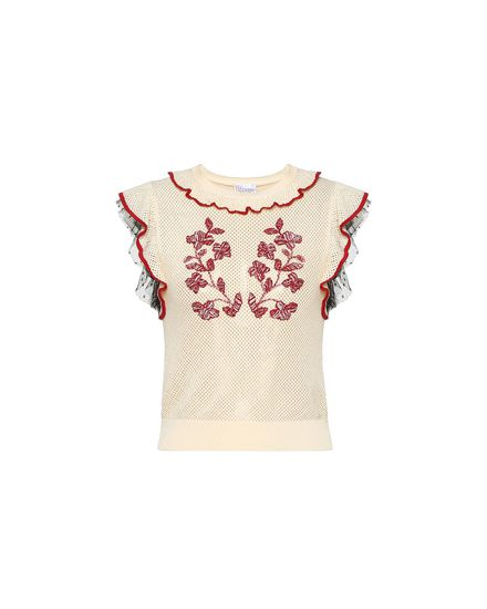 Gilet in maglia di cotone con ricamo floreale