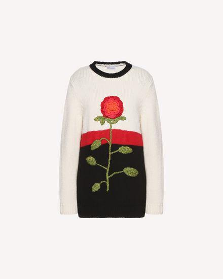 花卉钩边羊毛毛衣