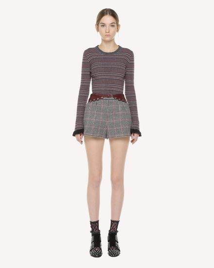 Check pattern wool sweater