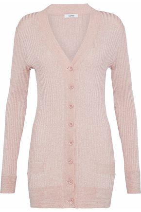 가니 GANNI Metallic ribbed-knit cardigan,Pastel pink