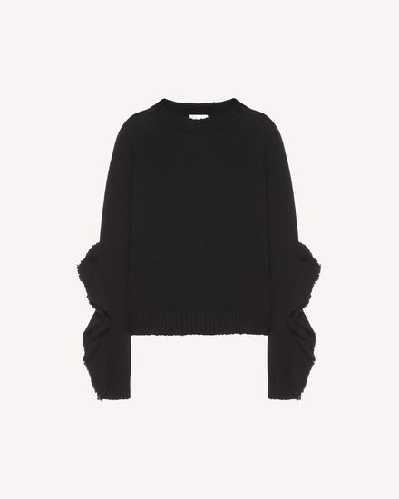 Ruffles detail wool blend sweater