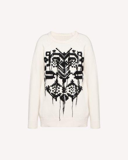 版印图案十字刺绣羊毛针织衫