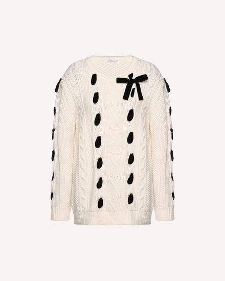 天鹅绒饰带羊毛针织衫