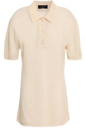 조셉 JOSEPH Pointelle-knit cotton polo shirt,Cream