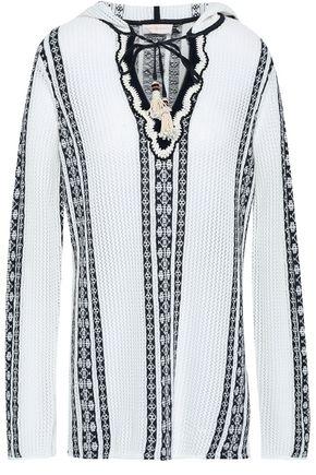 토리버치 Tory Burch Embellished cotton and linen-blend jacquard hooded tunic,Ivory