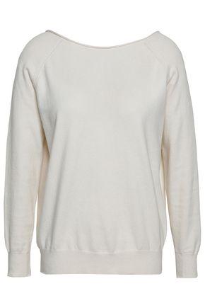 마쥬 스웨터 MAJE Chain-embellished cotton-blend sweater,Ivory