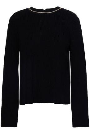마쥬 스웨터 MAJE Chain-embellished cotton-blend sweater,Black
