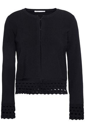 마쥬 가디건 MAJE Crochet-trimmed knitted cardigan,Black