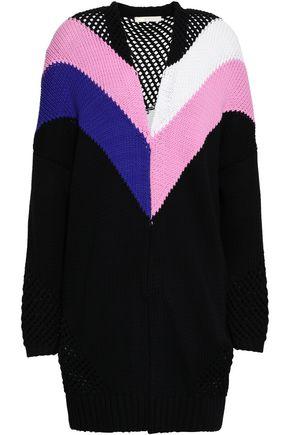 마쥬 MAJE Morgan open knit-paneled color-block cotton-blend cardigan,Black