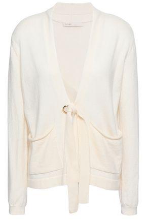 마쥬 MAJE Mariani tie-front wool and cashmere-blend cardigan,Ivory