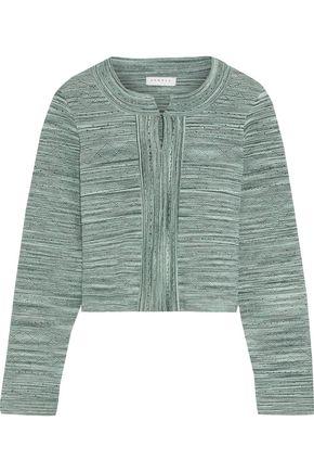 산드로 Sandro Varda cropped marled pointelle-knit cardigan,Green