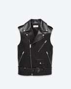 Classic Motorcycle Vest in Black Leather