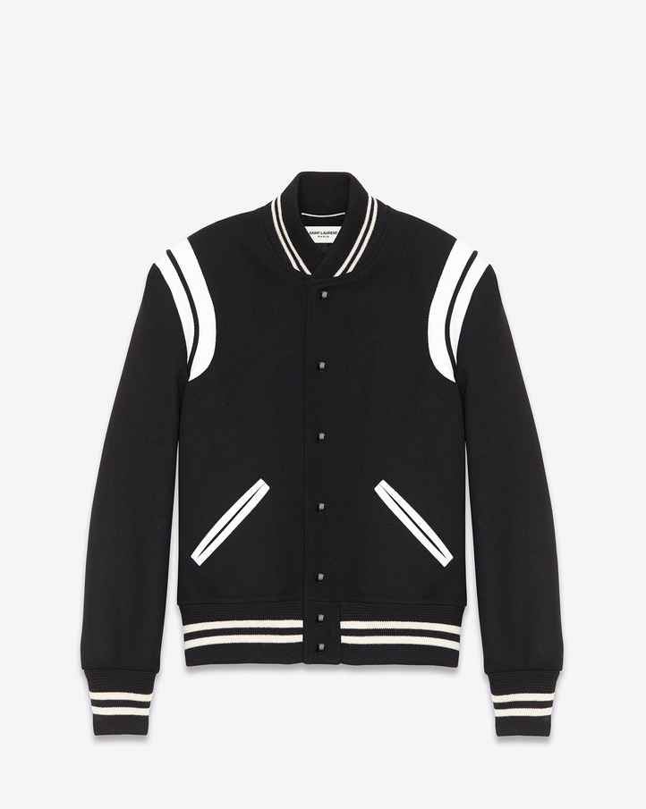 saintlaurent, Classic Teddy Jacket Black Wool and Ivory Leather