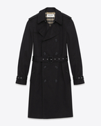 TRENCH ICONIC SAINT LAURENT NERO IN GABARDINE DI COTONE