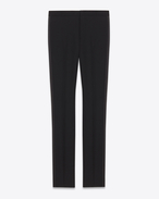 Iconic Le Smoking Low Waisted Trouser in Black Grain De Poudre Wool
