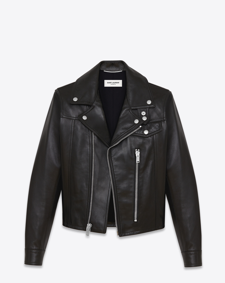 saintlaurent, Straight Motorcycle Jacket in Black Leather