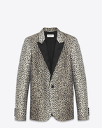 Iconic Le Smoking Jacket in Beige and Black Babycat Jacquard
