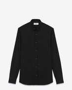 SIGNATURE YVES COLLAR SHIRT IN Black Cotton Poplin