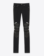 Signature Low Waisted Skinny Motocross Jean in Black Stretch Denim