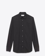 Yves Spitzkragen Hemd aus schwarzem Baumwollpopeline