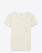 T-shirt girocollo Classic color avorio in seta stonewashed