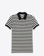CLASSIC POLO SHIRT IN BLACK AND IVORY STRIPED PIQUÉ COTTON