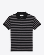 CLASSIC POLO SHIRT IN BLACK AND HEATHER GREY STRIPED PIQUÉ COTTON