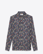 SIGNATURE YVES COLLAR SHIRT IN BLUE, White and Red Paisley Printed COTTON