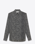 SIGNATURE YVES COLLAR SHIRT IN Black and White Babycat Printed cotton voile