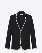 SINGLE BREASTED VESTE DE CANOTIER JACKET IN BLACK WOOL GABARDINE AND WHITE GROSGRAIN PIPING