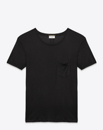 CLASSIC SHORT SLEEVE POCKET T SHIRT IN Black Washed Silk Jersey