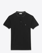 Polo à manches courtes et col montant en piqué de coton et cuir noirs