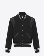 TEDDY JACKET IN BLACK GABARDINE AND OFF-WHITE LEATHER