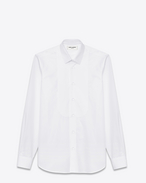Pique plastron Yves Collar Shirt in White Cotton Poplin