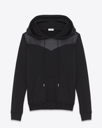Leather Yoke HOODED SWEATSHIRT IN BLACK FRENCH TERRYCLOTH AND Leather