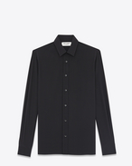 Camicia Signature nera in seta con collo Yves