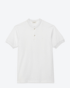 Short Sleeve Band Collar Polo in White Piqué Cotton
