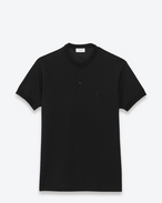 short sleeve band collar polo in black piqué cotton
