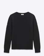 Grunge Crewneck Sweater in Black Shetland Wool and Cashmere