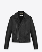 Motorcycle slouch Jacket in Black Leather