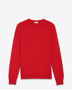 Classic SAINT LAURENT Crewneck Sweater in Red Cashmere