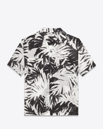 Short Sleeve Hawaiian Shirt in Black and White Leaf Printed Cotton