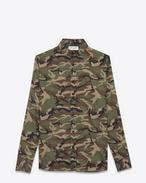 Camicia signature con collo DYLAN verde, marrone e nera in voile di cotone con stampa camouflage