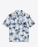Short Sleeve Hawaiian Shirt in Pale Blue and Blue Palm Tree Printed  Cotton and Linen