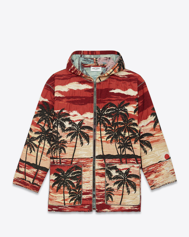 Saint Laurent Hooded Baja Cardigan In Red, Yellow And Black Palms ...