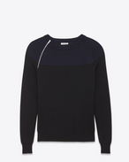 Two Tone Crewneck Zip Sweater in Black and Navy Blue Ribbed Cotton and Wool