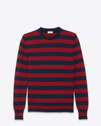 Classic Crewneck Sweater in Navy Blue and Bordeaux Striped Wool