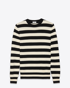 Classic Crewneck Sweater in Black and Ivory Striped Wool