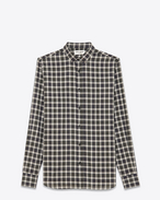 Signature DYLAN collar Shirt in White, Navy Blue and Green Plaid Cotton and Cupro